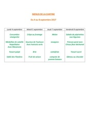 menus de la cantine 4 septembre
