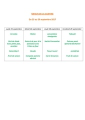 menus de la cantine 25 septembre