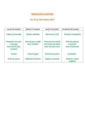 menus de la cantine 16 octobre