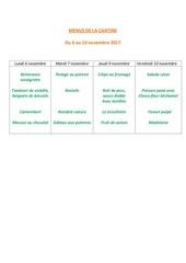 menus de la cantine 6 novembre