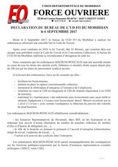 declaration du bureau de l ud fo 56 du 06 09 17