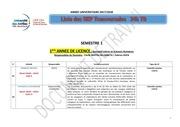 liste des uep transversales licences 1er semestre 2017 2018