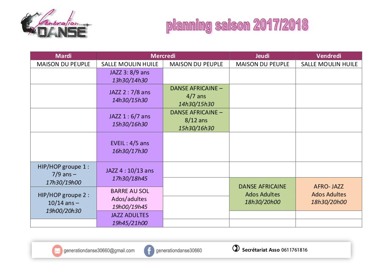Aperçu du document planning Cours Generation Danse 2017 2018 .pdf - page 1/1