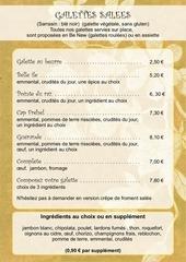 menu sur place