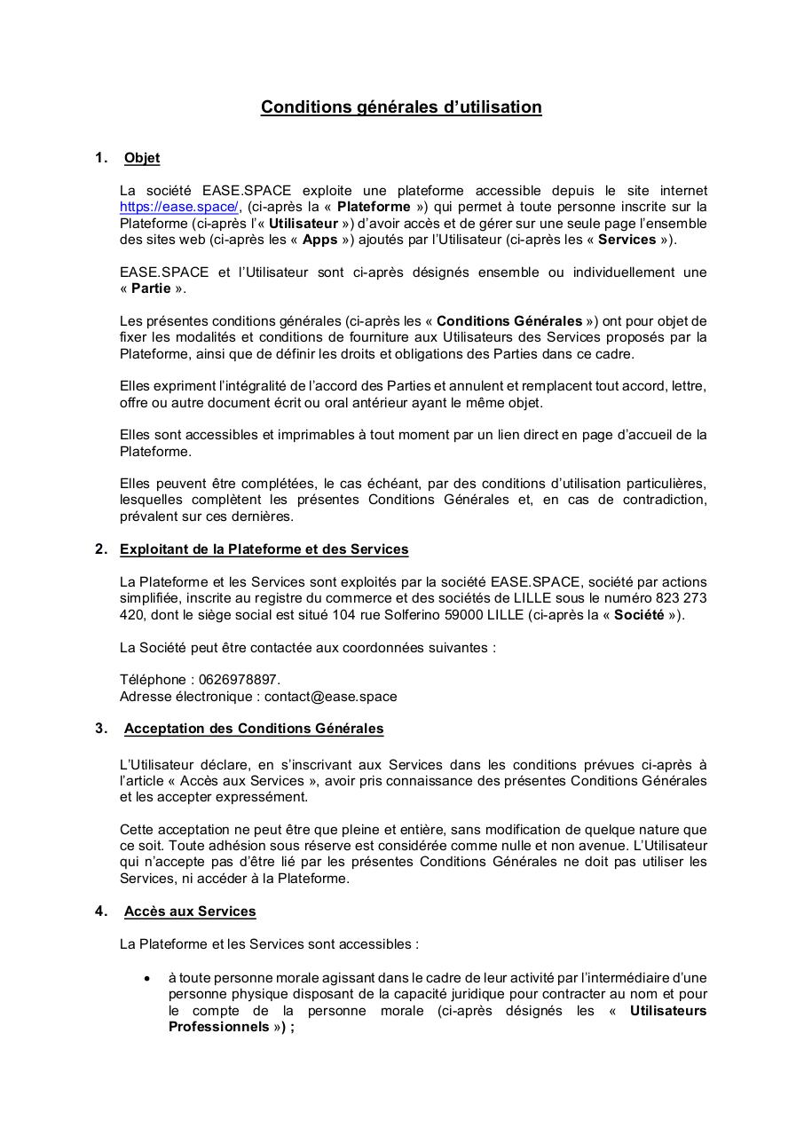 Aperçu du document CGU Ease.Space V1.pdf - page 1/17