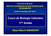 cours bio cell chap i 1ere a isbm 2017 2018