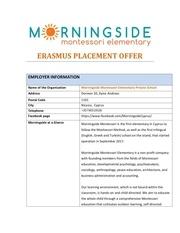 erasmus placement offer morningside admin