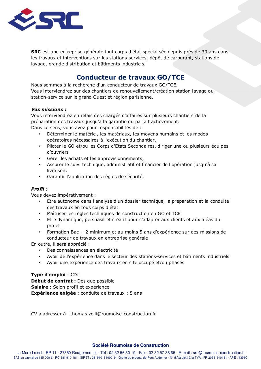 offre d u0026 39 emploi conducteur de travaux par laoutid