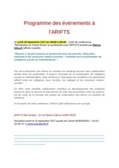 programme des evenements a l arifts 1