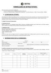 Fichier PDF formulaire retractation