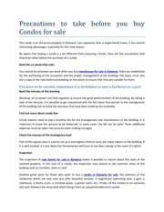 precautions to take before you buy condos for sale