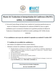 appel a candidatures matic traduction 2017 2018