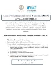 Fichier PDF appel a candidatures matic traduction 2017 2018