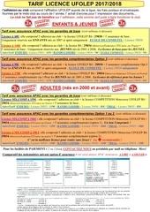 tarif licence 2018