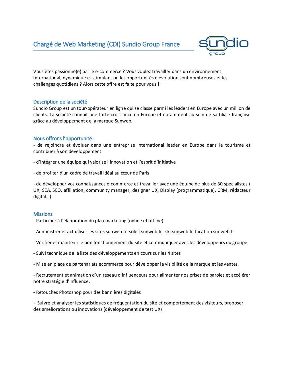 offre sundio charg u00e9 de web marketing france par ana u00efs