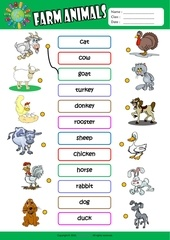 farm animals matching exercise worksheet