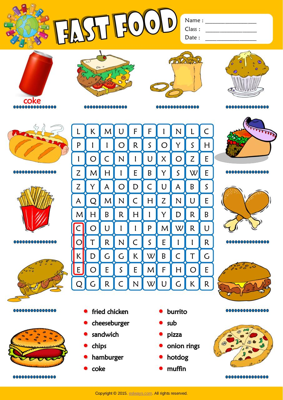 Aperçu du document fast food word search worksheet.pdf - page 1/1