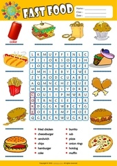 fast food word search worksheet