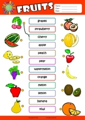 Fichier PDF fruits matching exercise worksheet