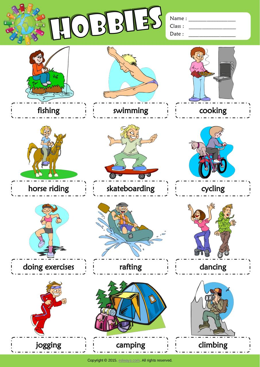 Aperçu du document hobbies esl picture dictionary for kids.pdf - page 1/1