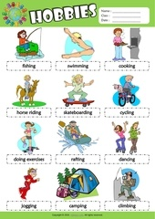hobbies esl picture dictionary for kids