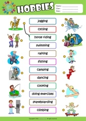 hobbies matching exercise worksheet