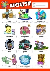 parts of the house esl picture dictionary for kids