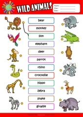 wild animals matching exercise worksheet