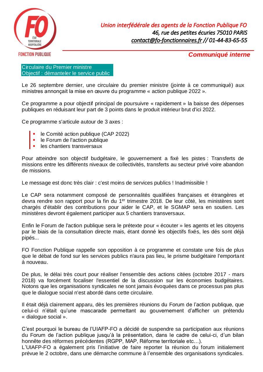 2017 10 03 Communique Interne Fo Fonction Publique Par Martine