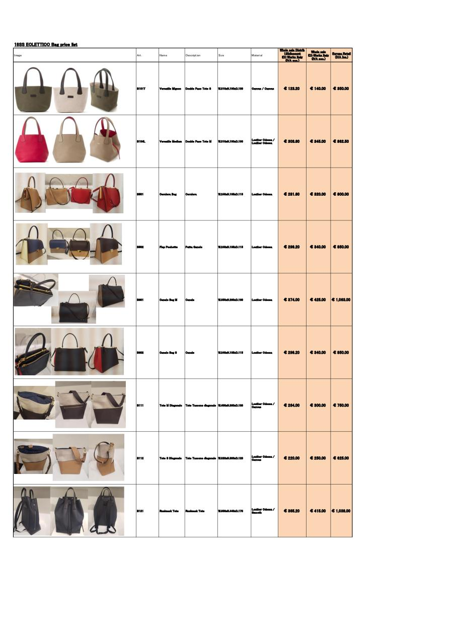 SS18newEclettico_BagPriceList_Would_Eur (1).pdf - page 1/4