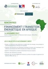 rencontres financement transition energetique afrique