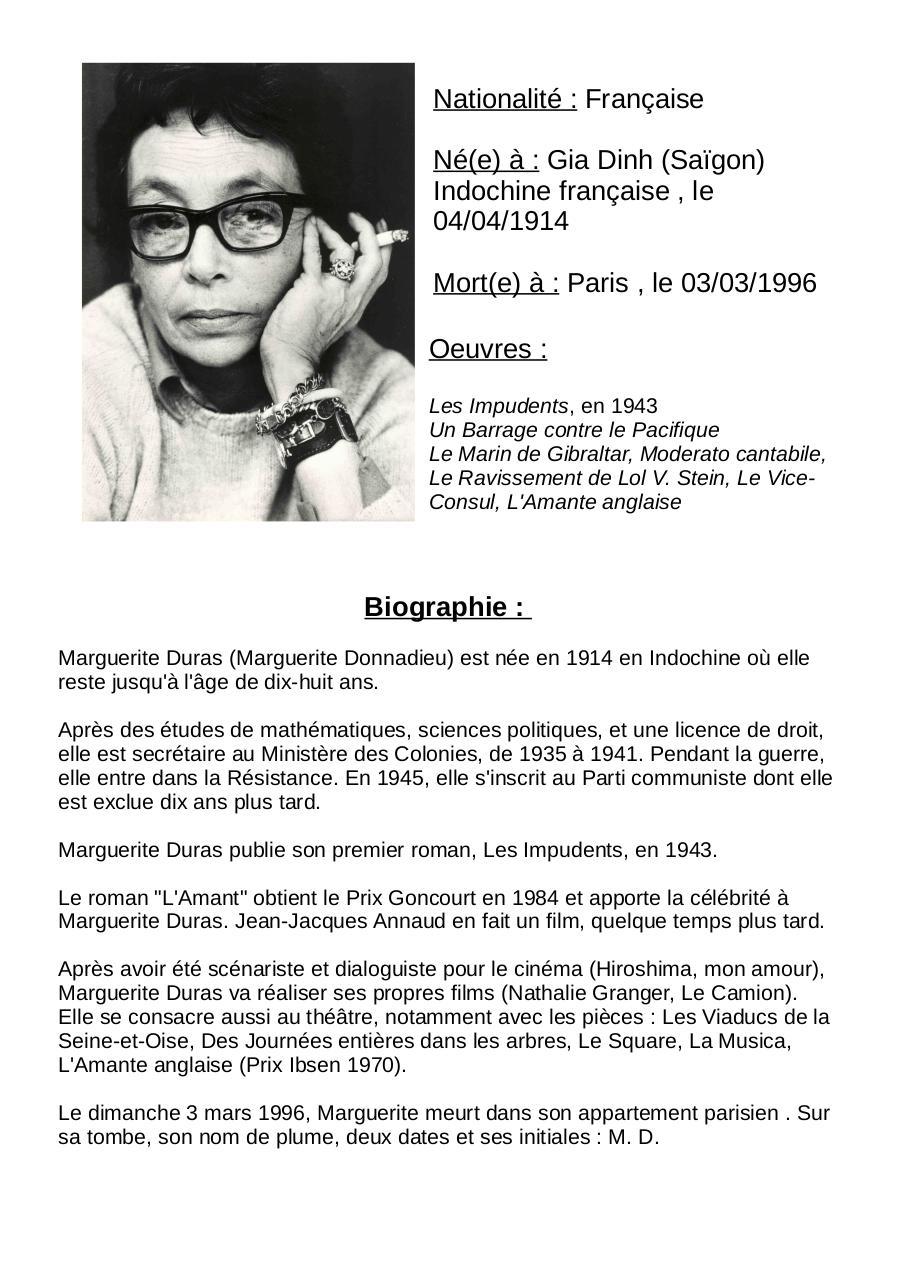 Marguerite Duras Fiche Auteur Fichier Pdf