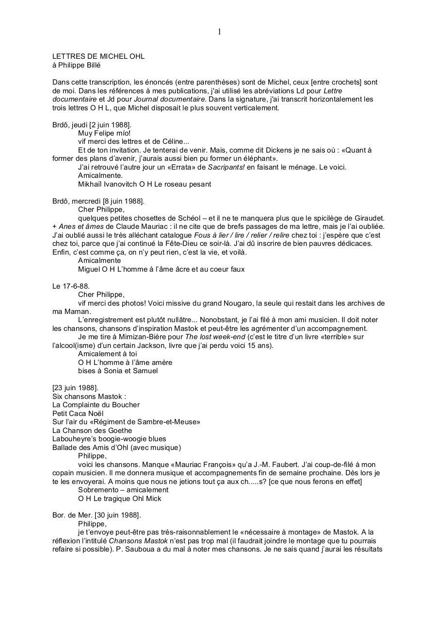 Ohl Mail Par Philippe Fichier Pdf