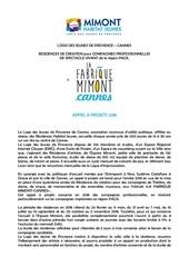 appel a projet fabrique mimont cannes 2018