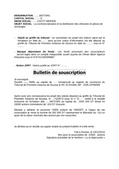 bulletin de souscription