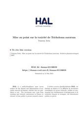Fichier PDF mise au point toxicite tricholoma auratum vanessa artis