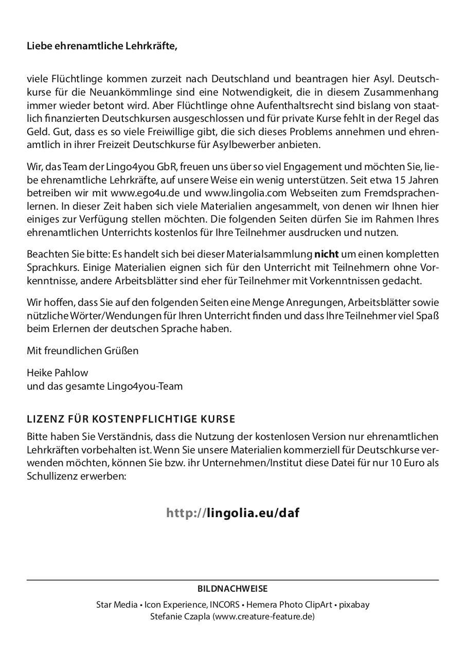 Unterrichtsmaterialien Deutsch als Fremdsprache par Lingo4you GbR ...