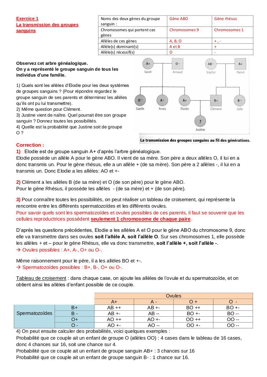 exercices corrigés 3eme génétique par Lise - Fichier PDF