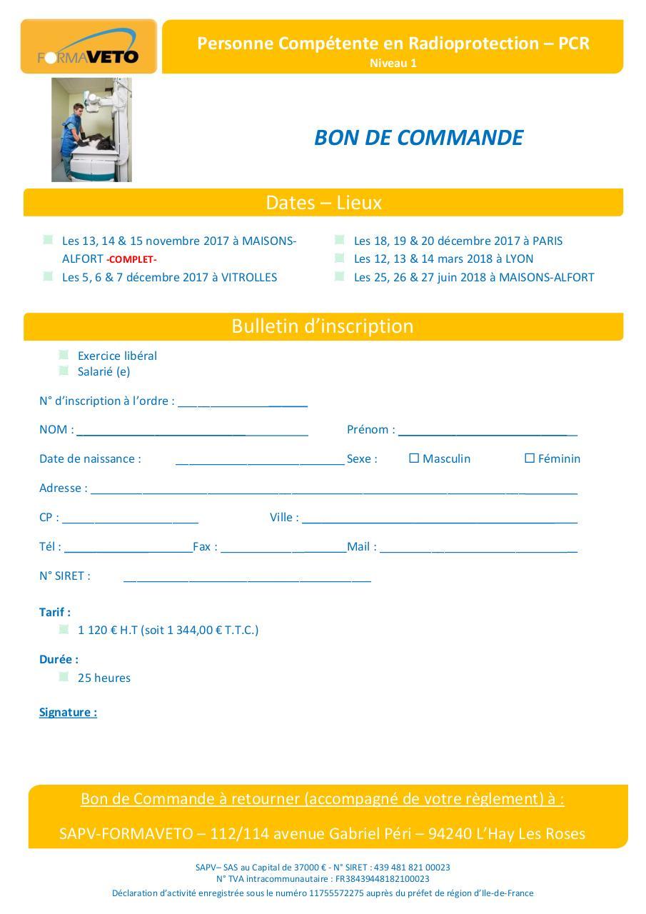 BON DE COMMANDE Formaveto 2017 2018 PCR Niveau 1 par amandon
