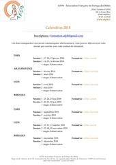 afpb inscriptions et calendrier 2018