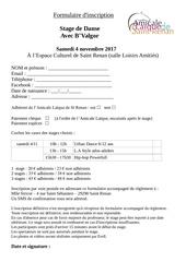 formulaire d inscription stages b valgor 4 novembre 2017