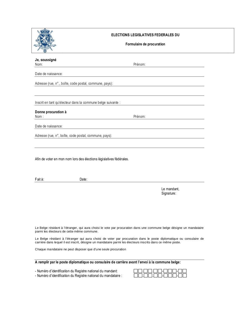 formulaire de procuration par MESTDM - Fichier PDF