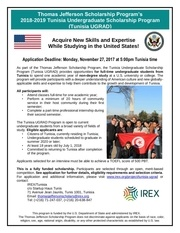 tunisia ugrad informational flyer 2018 2019