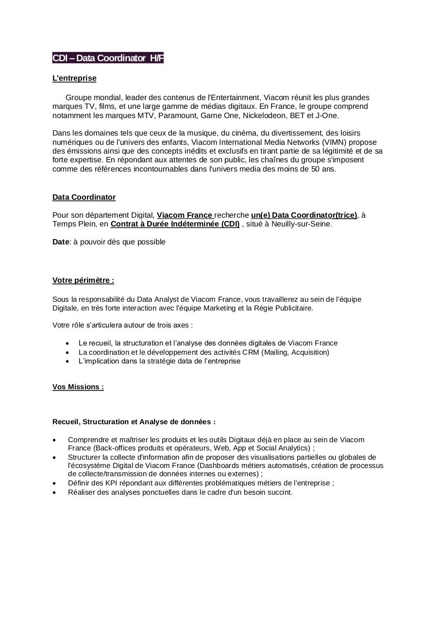 Offre Data Coordinator.pdf - page 1/2