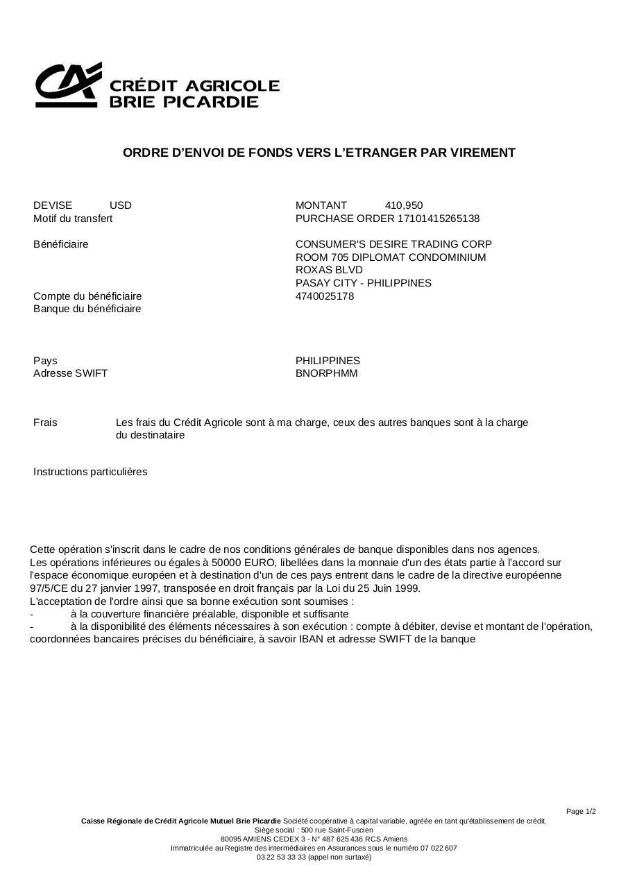 Ordre D Envoi De Fonds Vers L Tranger 1277478497 Fichier Pdf