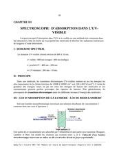 chapitre iii spectroscopie d absorption dans l uv visible