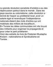 la grande revolution socialiste d octobre et mln tunisien 1