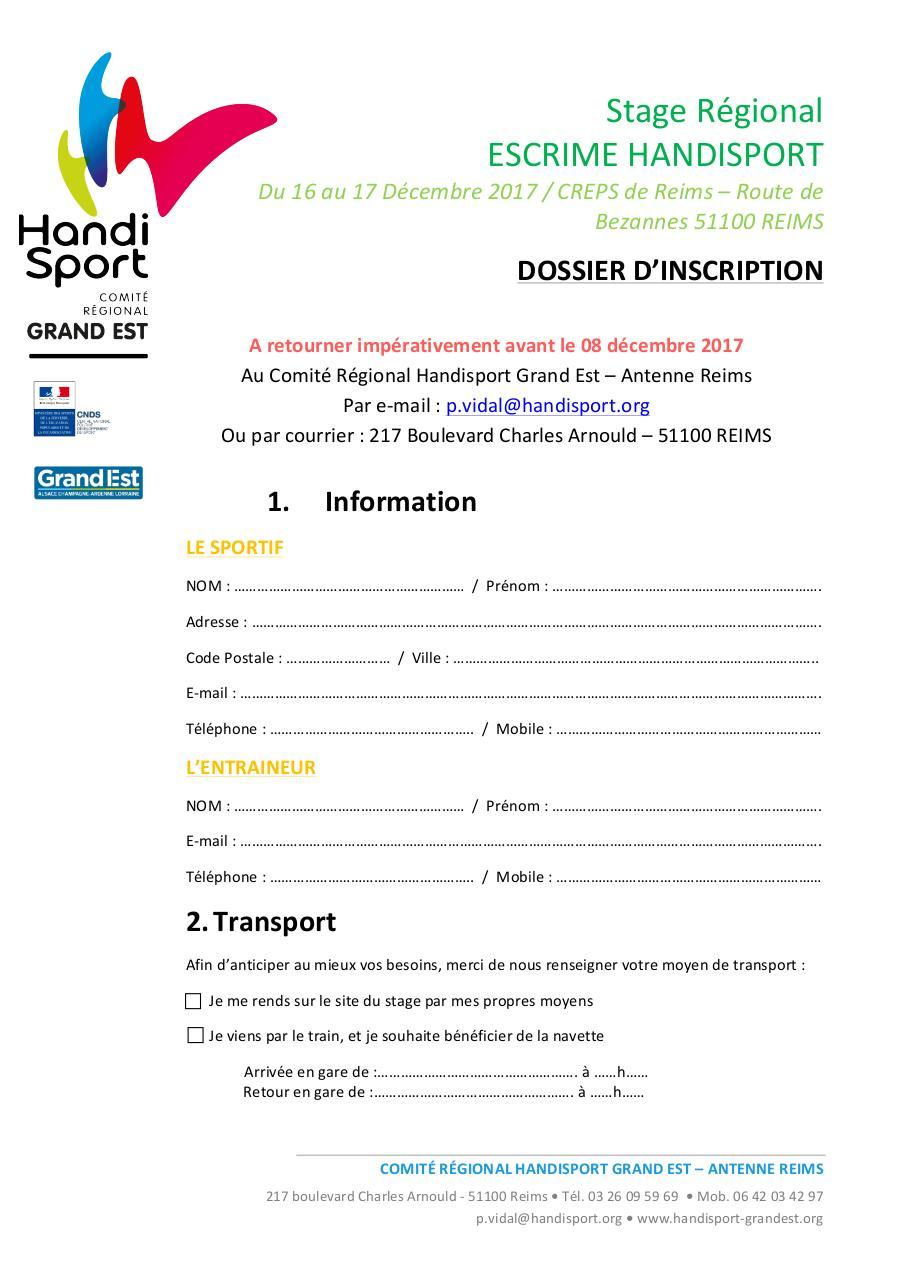 Dossier inscription - Stage Escrime.pdf - page 2/4
