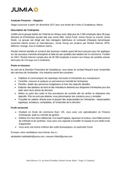 stage analyste financier jumia maroc
