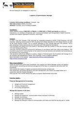 logistics administration manager shirquat